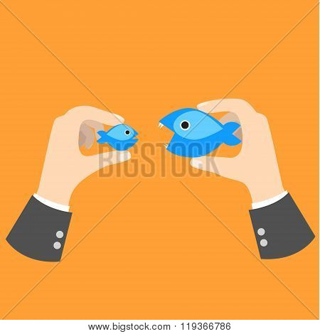 Big Fish Eat Small Business Concept Metaphor.