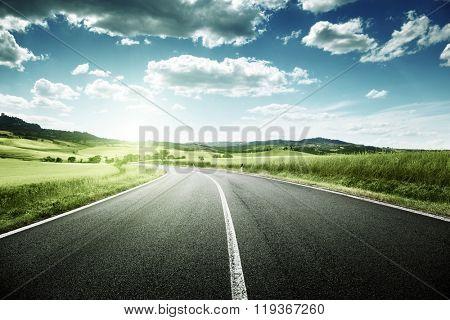 asphalt road in Tuscany, Italy