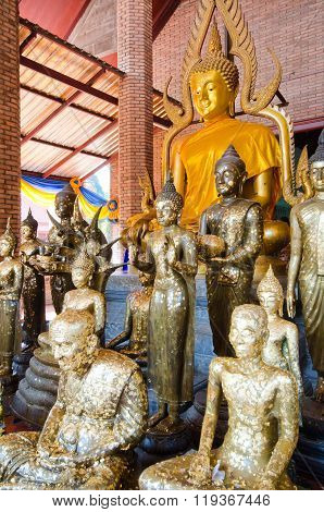 Thailand Buddha Worshippers Gilded with Gold Foils