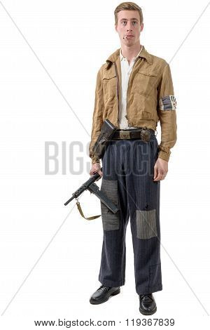 Young French Resistance, Vintage Clothes And Weapons, Reenactment