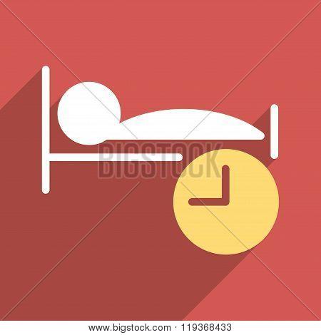 Sleep Time Flat Longshadow Square Icon