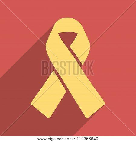 Solidarity Ribbon Flat Longshadow Square Icon