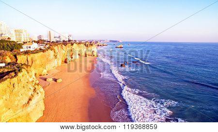 Famous Praia da Rocha in Portimao Portugal