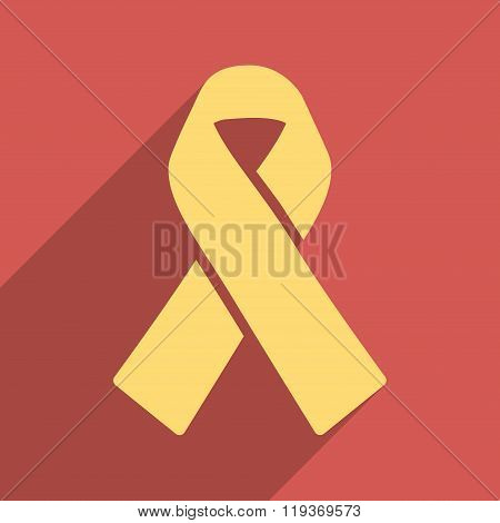 Solidarity Ribbon Flat Longshadow Square Icon