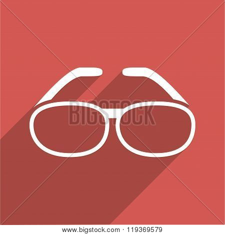 Spectacles Flat Longshadow Square Icon