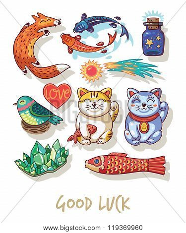 Good Luck. Lucky amulets and happy symbols collection
