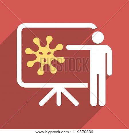 Virus Lecture Flat Longshadow Square Icon