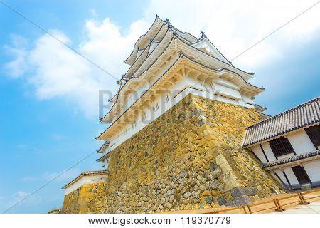 Himeji Jo Castle Bottom Stronghold Blue Sky Angled