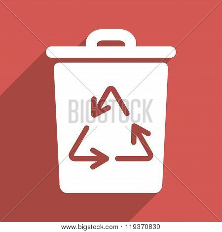 Trash Can Flat Longshadow Square Icon