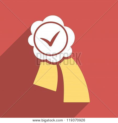 Validation Seal Flat Longshadow Square Icon
