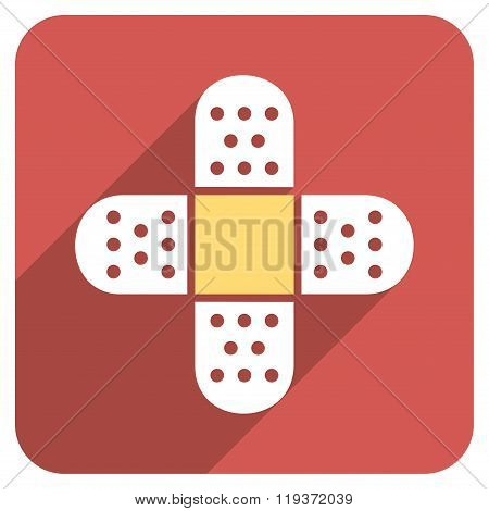 Plaster Cross Flat Rounded Square Icon with Long Shadow