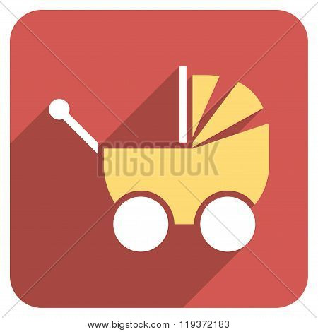 Pram Flat Rounded Square Icon with Long Shadow