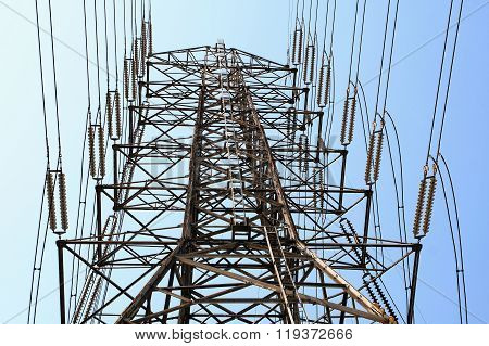 High voltage AC transmission towers with clear sky
