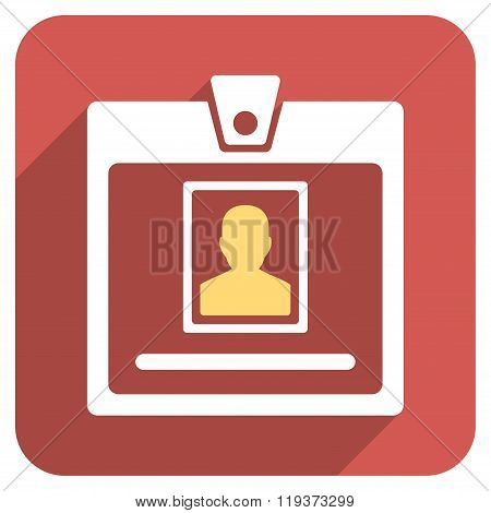 Person Badge Flat Rounded Square Icon with Long Shadow