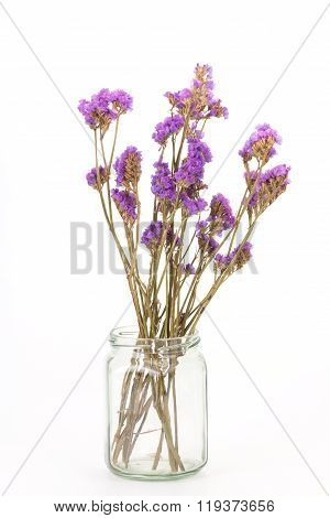 Dried Statice Flowers Isolated On White Background