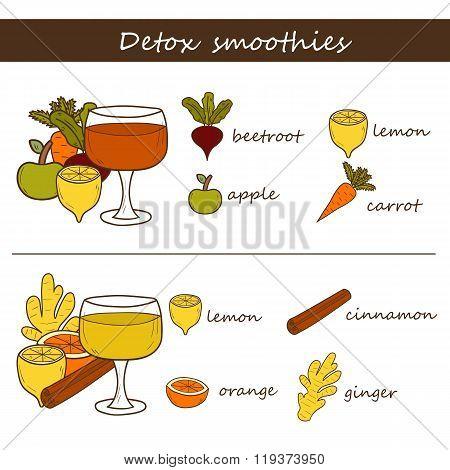 Detox smoothies concept