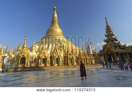 Yangon, Myanmar - December 29 : Unidentified People Walking Around  In Shwedagon Pagoda On December,