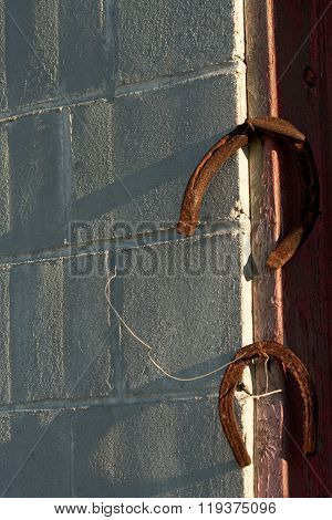 Rusty Horseshoes on Rusted Nails