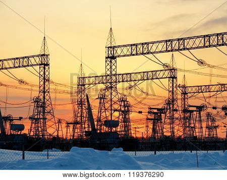 Electric substations in sunset