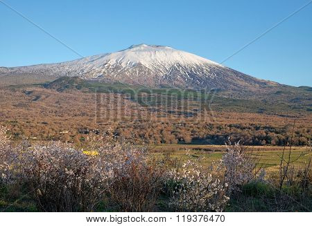 snovy volcano Etna National Park from Maletto, Sicily