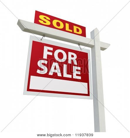 Sold Home For Sale Real Estate Sign Isolated on a White Background.