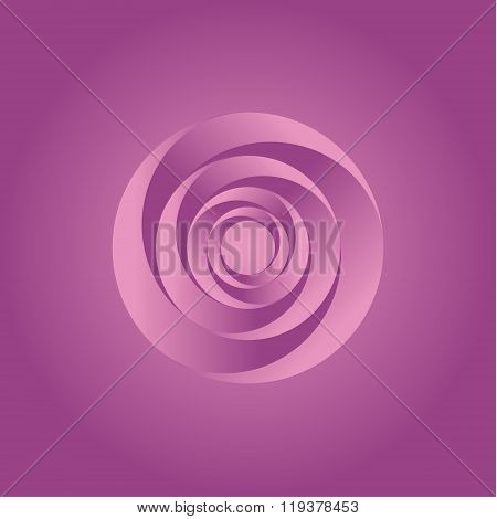 Pink Twisted Abstract spiral illustration of remembers the rose