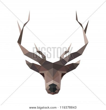Deer low poly logo vector illustration polygons horned