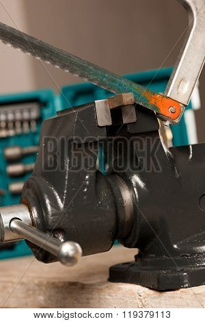 Cutting Iron With Saw On Vice Tool, Clamping Device.