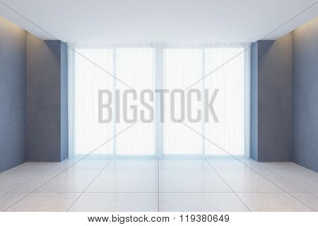 empty room with curtains on wide window, 3D illustration