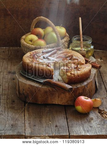 Charlotte With Apples And Cinnamon Strewed By Powdered Sugar