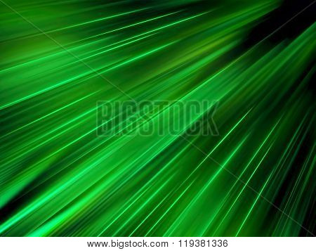 Abstract computer-generated green image simple and austere background with diagonal rays and folds. Glossy fractal background for creative design