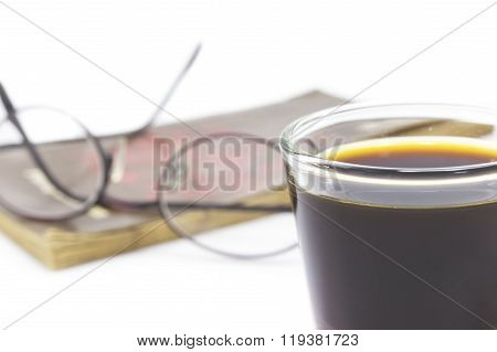 Abstract Read Book With Coffee  Shot Foreground