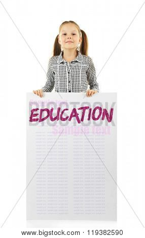 Cute school girl in causal with green blackboard for your text, isolated on white