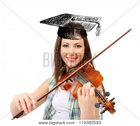 Beautiful young woman and violin with graduation cap, isolated on white