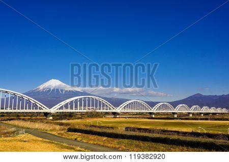 Mt. Fuji in the winter with bridge