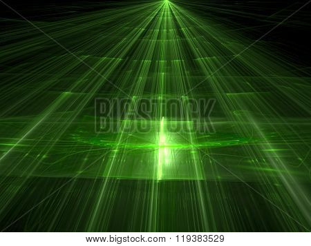 Abstract green background computer-generated image. Trendy fractal artwork - surface with straight lines highlights and the prospect. Tech style background for web-design banners and covers.