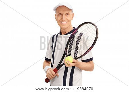 Studio shot of an amateur senior tennis player holding a racket and a ball isolated on white background