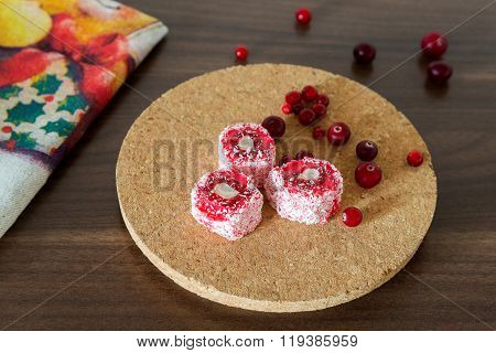 Turkish Sweets Rahat Lokum With Fresh Cowberry And Cranberry On