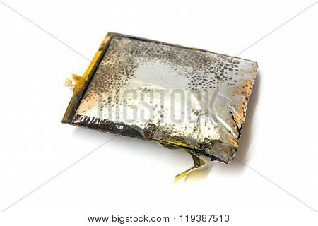 Bloat, Damage, Expire, Bad, Shot Cellphone Battery Isolated On White Background