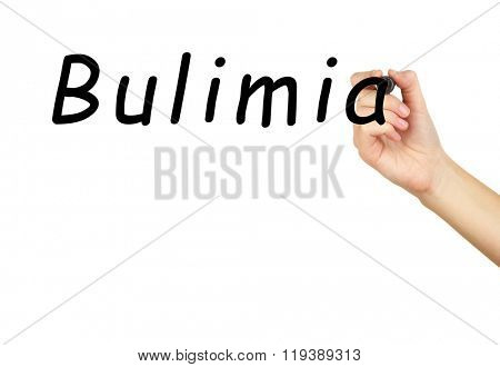 Human hand writing word Bulimia on transparent whiteboard