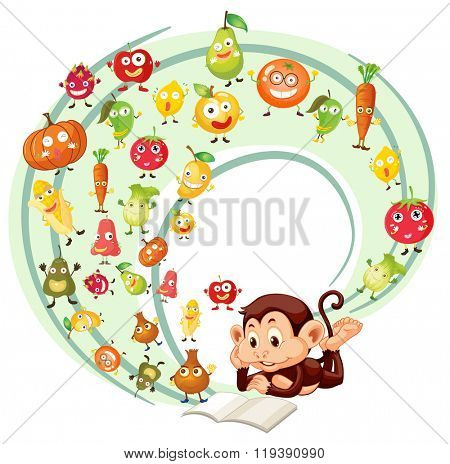 Monkey reading book of fruits and veggies illustration
