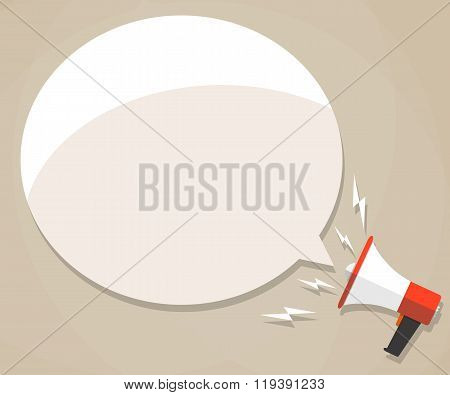 megaphone with white bubble