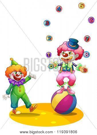 Jester juggling balls on the ball illustration