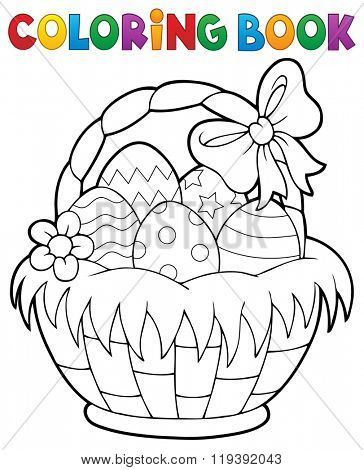 Coloring book Easter basket theme 1 - eps10 vector illustration.