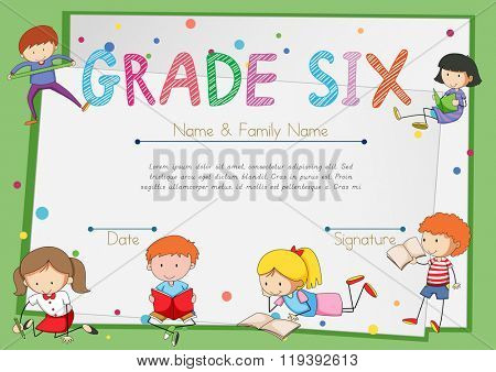 Certificate template for students grade six illustration
