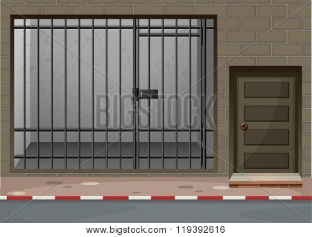 Scene with prison room at building illustration