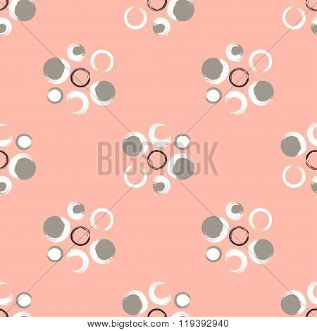 Grunge Circles On A Light Coral Background