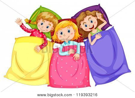 Girls in pajamas at slumber party illustration