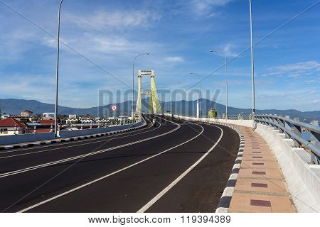 Bridge Over The Harbor In Manado, Indonesia