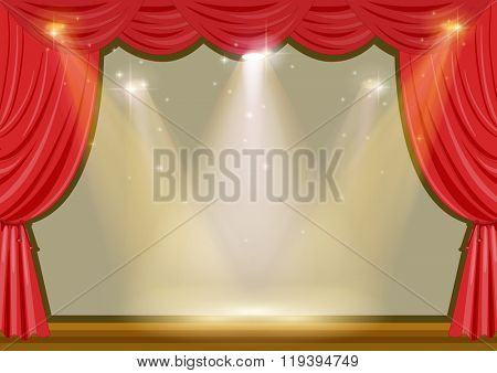 Empty stage with red curtain and lights illustration